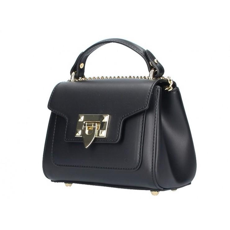 Talianska kožená kabelka na rameno 186 čierna