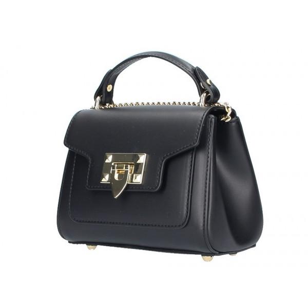 8d0090503 Talianska kožená kabelka na rameno 5322 čierna - MONDO ITALIA s.r.o.