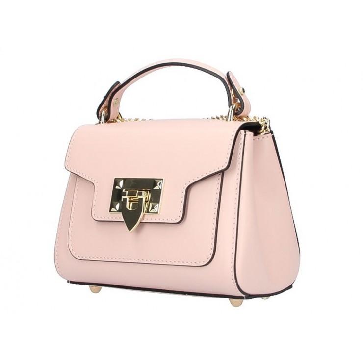 Talianska kožená kabelka na rameno 186 ružová