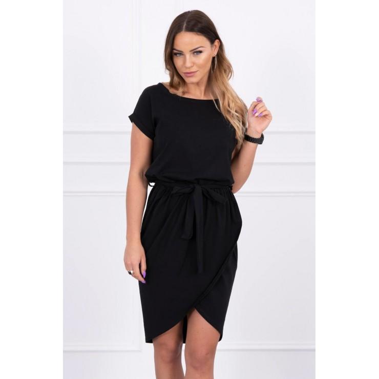 Bavlnené šaty s opaskom MI8980 čierne