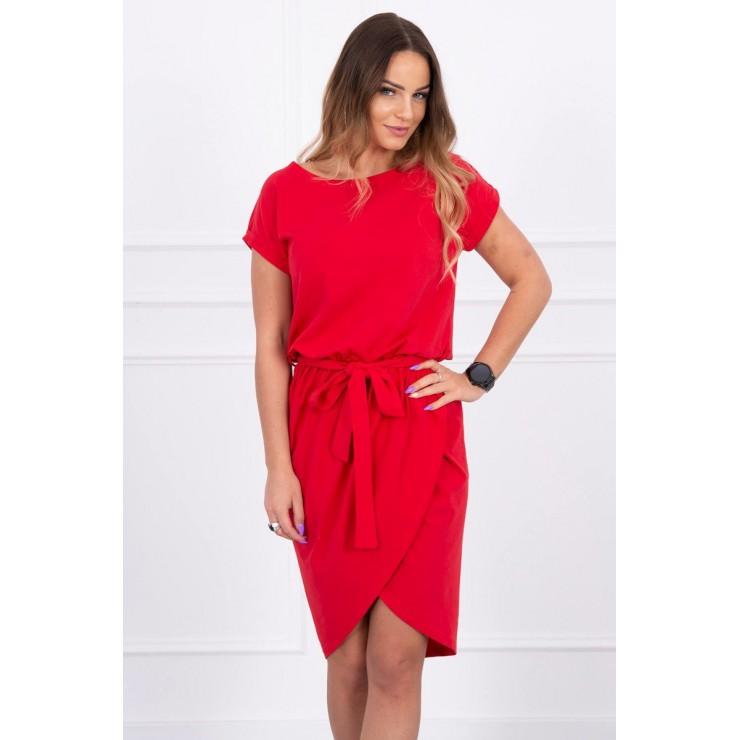 Bavlnené šaty s opaskom MI8980 červené