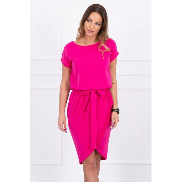 Cotton dress with belt MI8980 fuxia