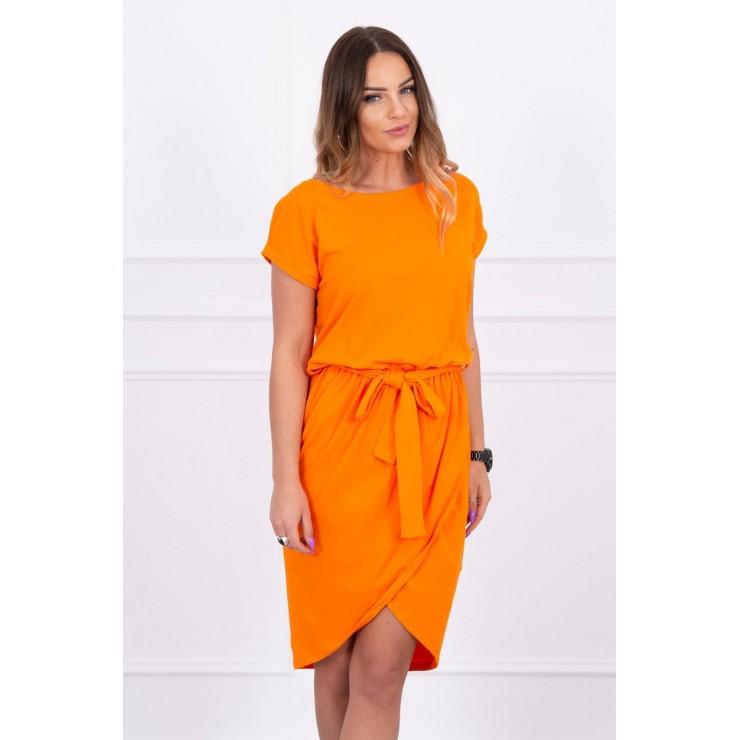 Bavlnené šaty s opaskom MI8980 oranžové