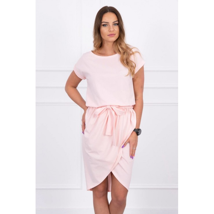 Bavlnené šaty s opaskom MI8980 pudrovo ružové