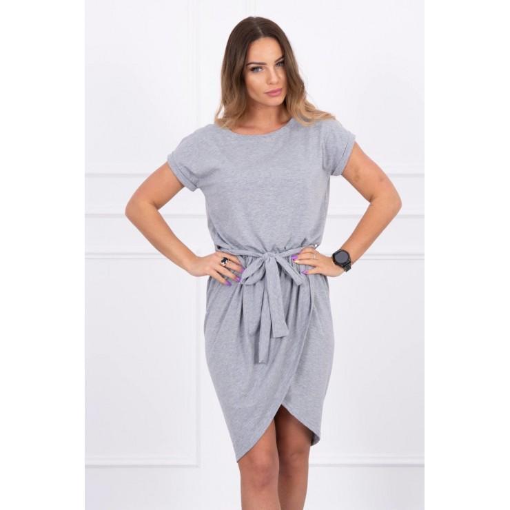 Bavlnené šaty s opaskom MI8980 šedé