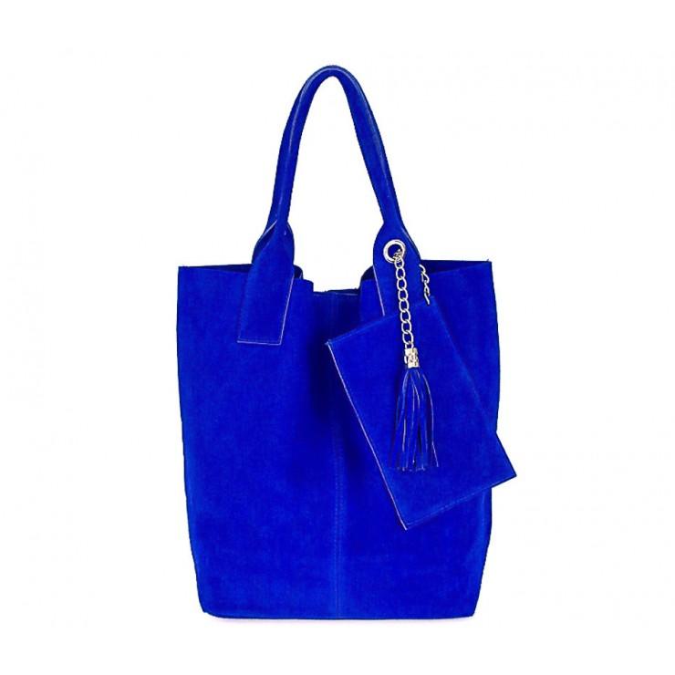 Azurově modrá kožená kabelka v úpravě semiš 804