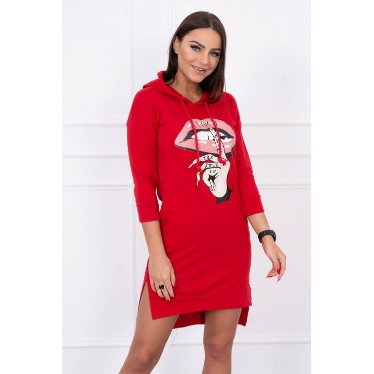 Šaty s predĺženou zadnou stranou a farebnou potlačou v predu MI64632 červené
