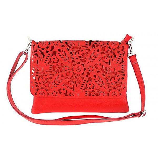 Dámska kožená kabelka 546 Made in Italy Červená