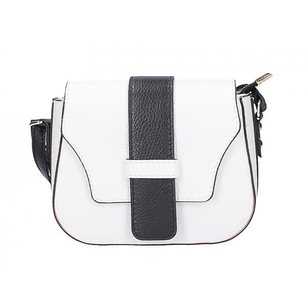 Bieločierna talianska kožená kabelka na rameno 870A