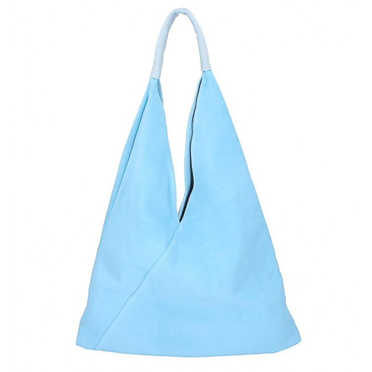 Nebesky modrá kožená kabelka na rameno v úprave semiš 184