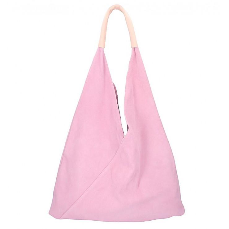 Ružová kožená kabelka na rameno v úprave semiš 184