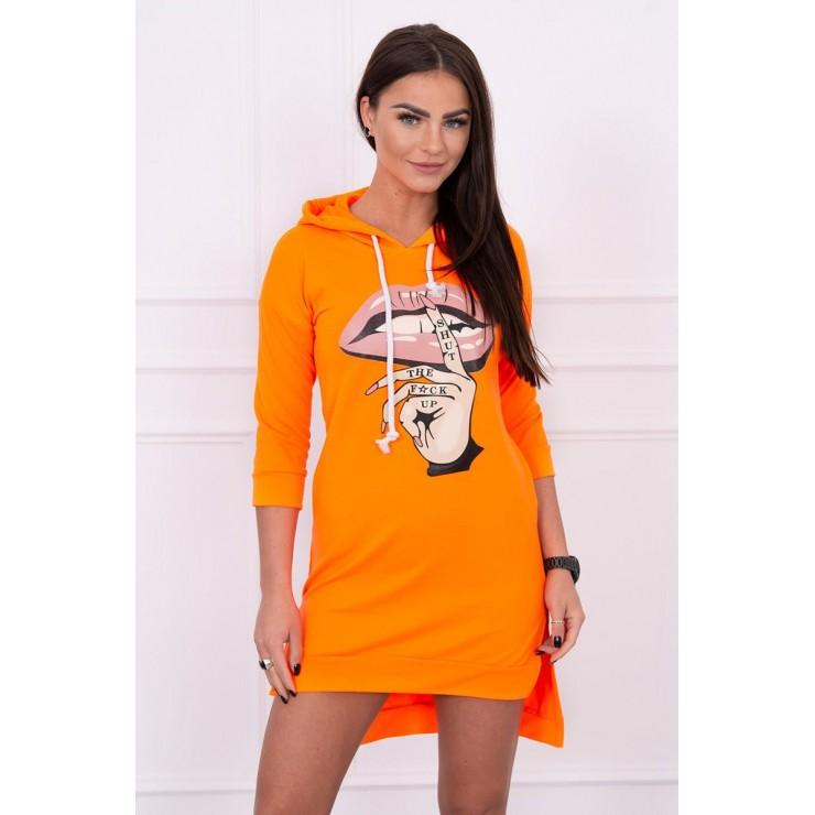 Šaty s predĺženou zadnou stranou a farebnou potlačou v predu MI64632 neónovo oranžové
