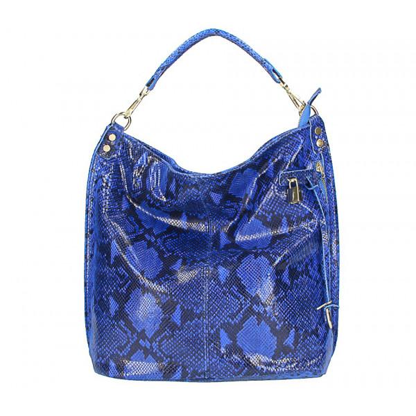 Kožená kabelka s hadím motívom 496 azurovo modrá
