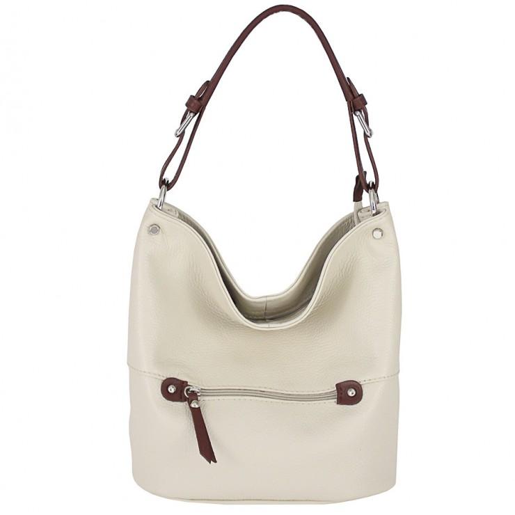 Leather shoulder bag 715 beige