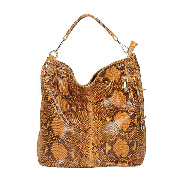 Kožená kabelka s hadím motívom 496 koňaková