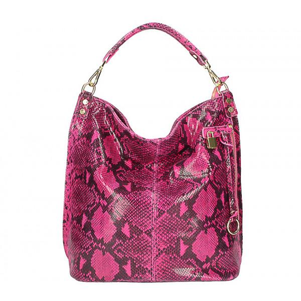 Kožená kabelka s hadím motívom 496 fuchsia