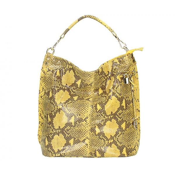 Kožená kabelka s hadím motívom 496 žltá