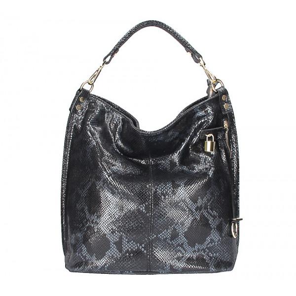 Kožená kabelka s hadím motívom 496 čierna