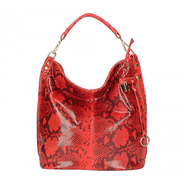 Kožená kabelka s hadím motívom 496 červená