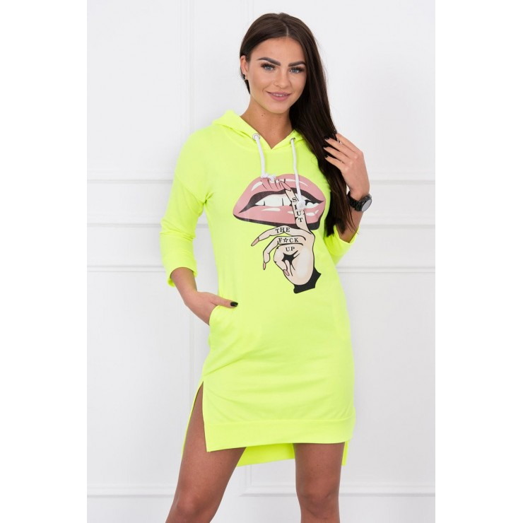 Dress with extended back and color print front MI64632 yellow neon