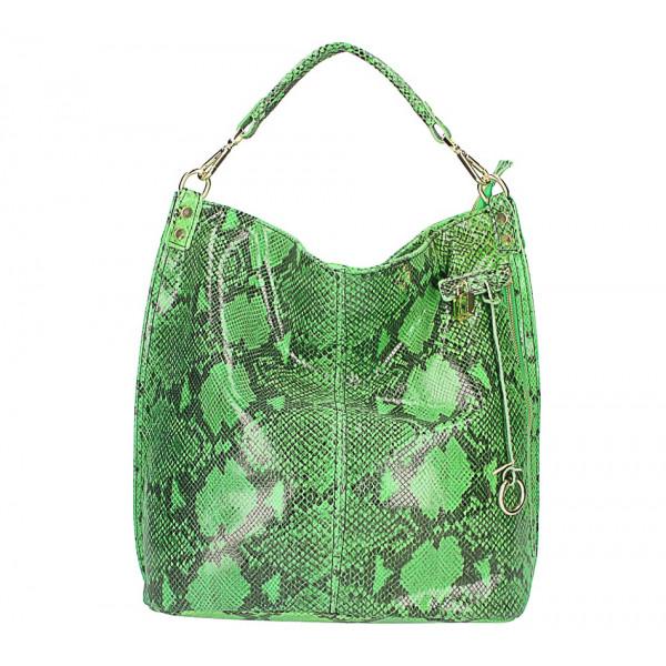 Kožená kabelka s hadím motívom 496 zelená