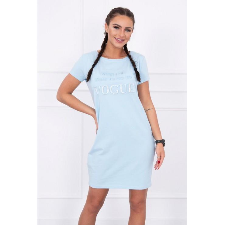 Šaty s vreckami VOGUE MI8833 nebesky modré