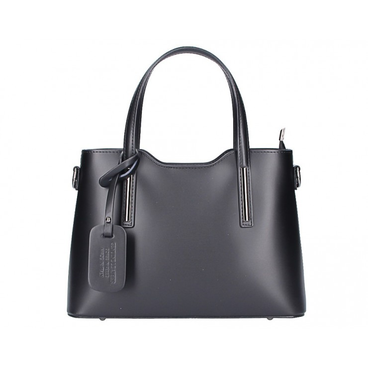 Genuine Leather Handbag black 1364 Made in Italy