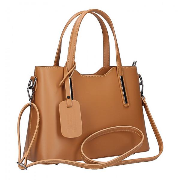 Čierna kožená kabelka do ruky 1364 Made in Italy