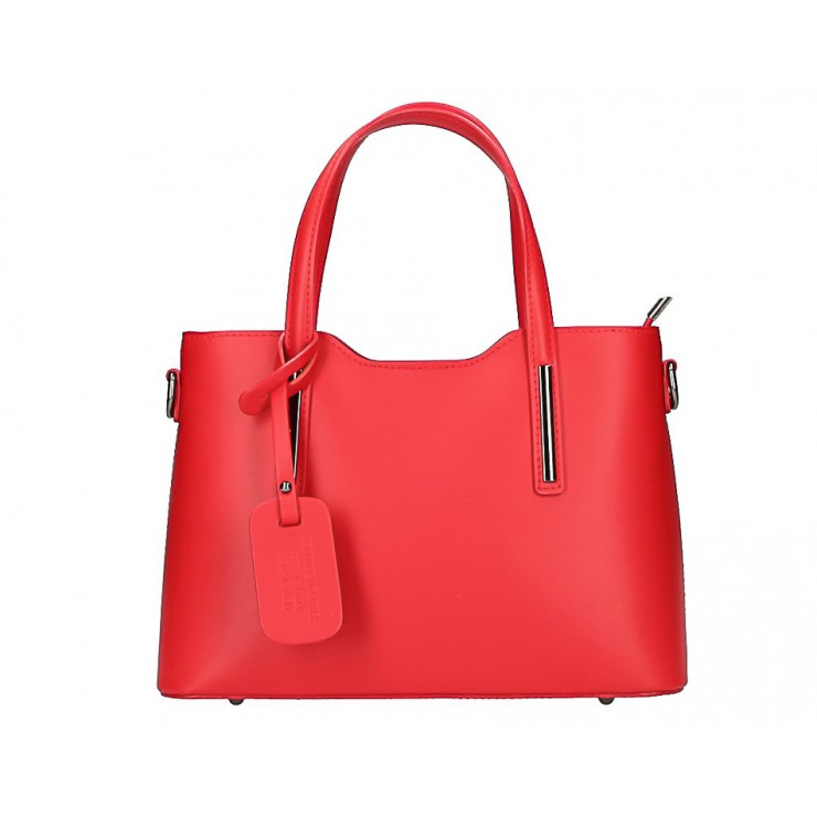 Červená kožená kabelka do ruky 1364 Made in Italy