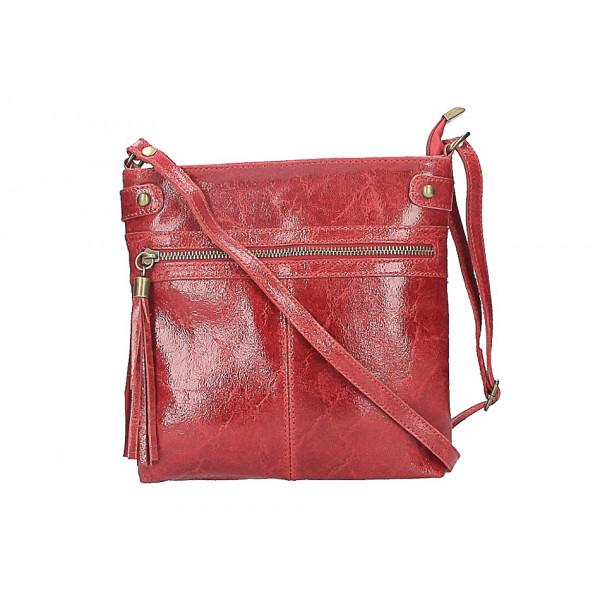 Kožená kabelka na rameno 727 červená