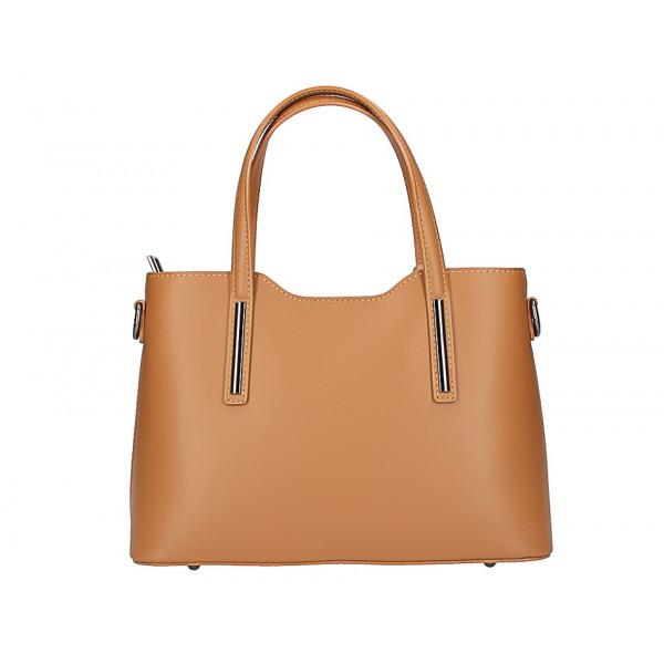 Okrová kožená kabelka do ruky 1364 Made in Italy