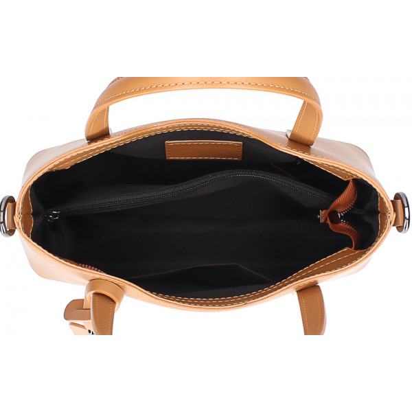 Šedohnedá kožená kabelka do ruky 1364 Made in Italy Šedohnedá