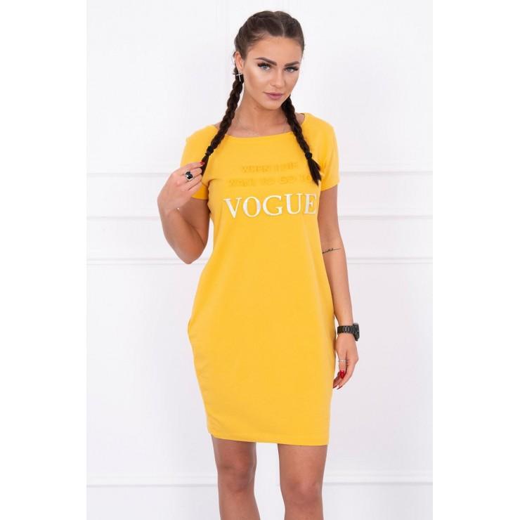 Šaty s vreckami VOGUE MI8833 okrové