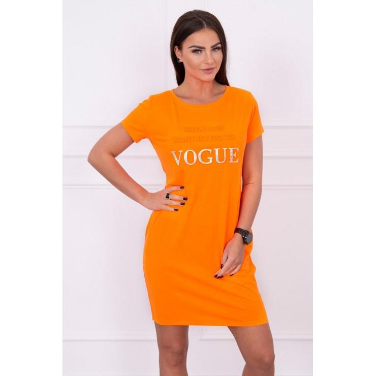 Šaty s vreckami VOGUE MI8833 neónovo oranžové