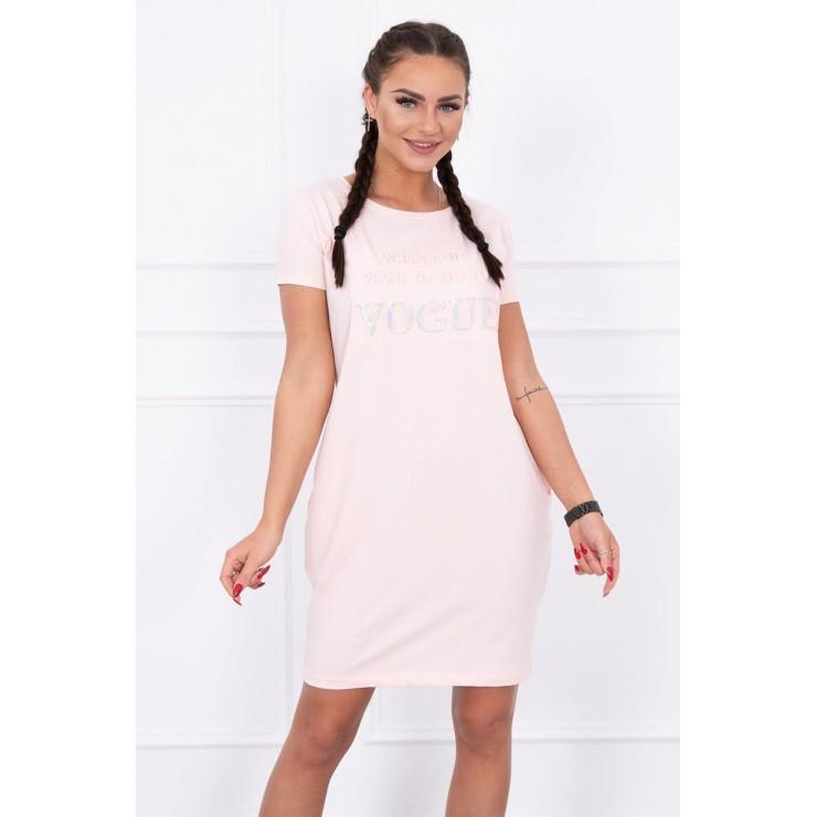 Šaty s vreckami VOGUE MI8833 pudrovo ružové
