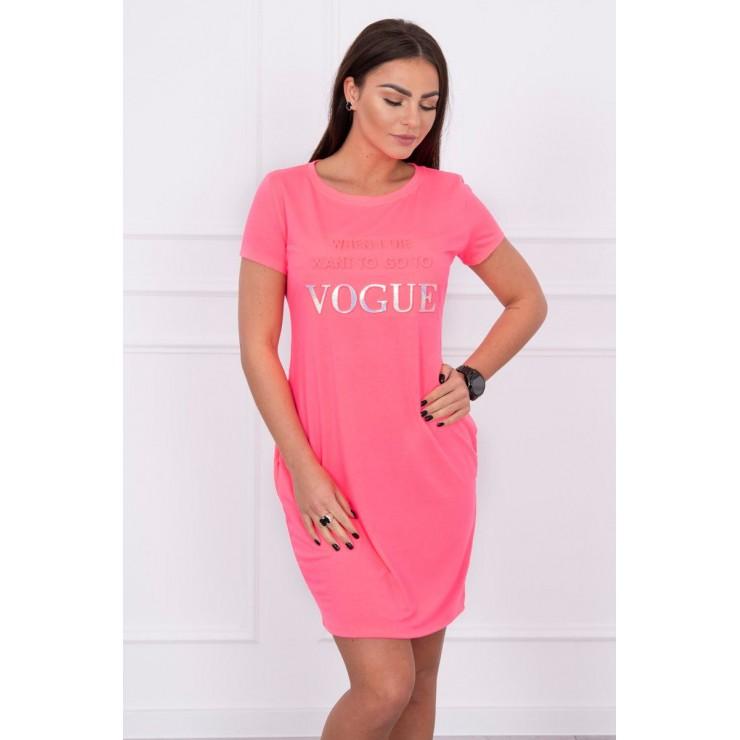 Šaty s vreckami VOGUE MI8833 neónovo ružové