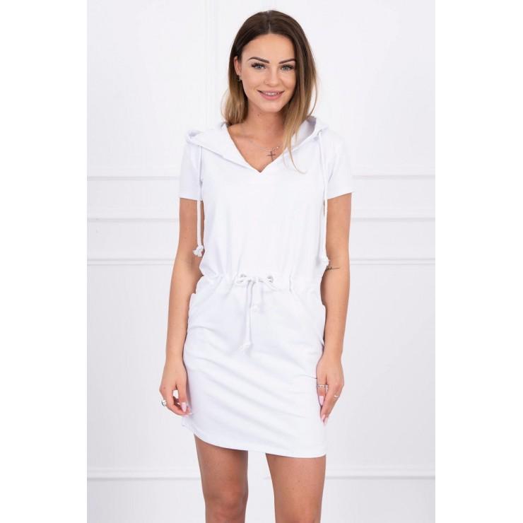 Šaty s vreckami a kapucňou MI8982 biele