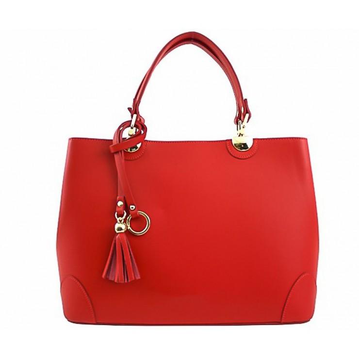 Kožená kabelka 7 rudá