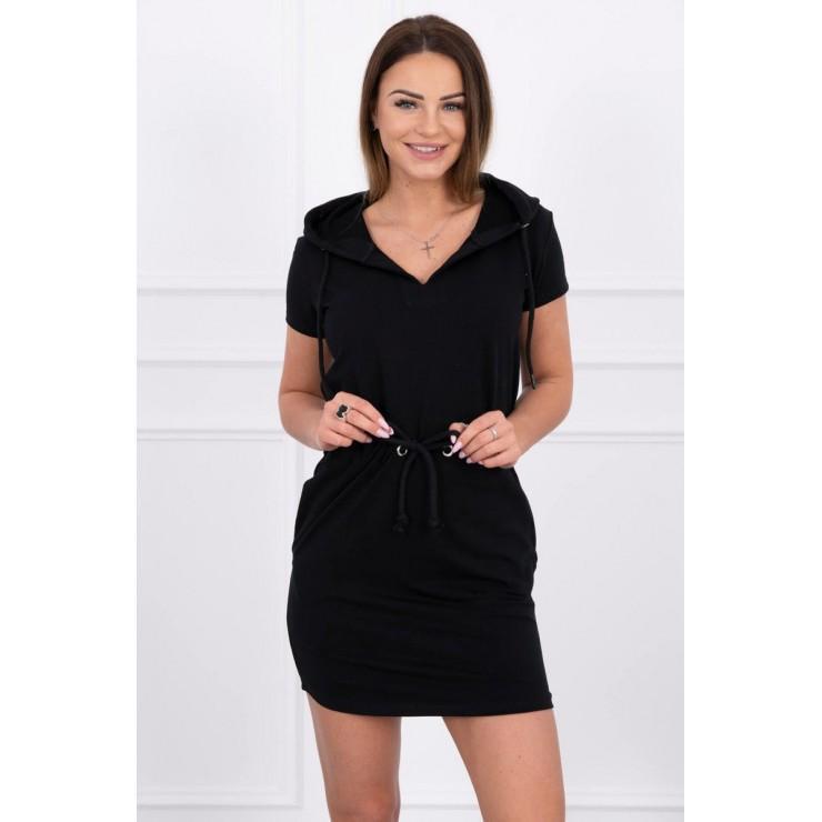 Dress with pockets and hood MI8982 black