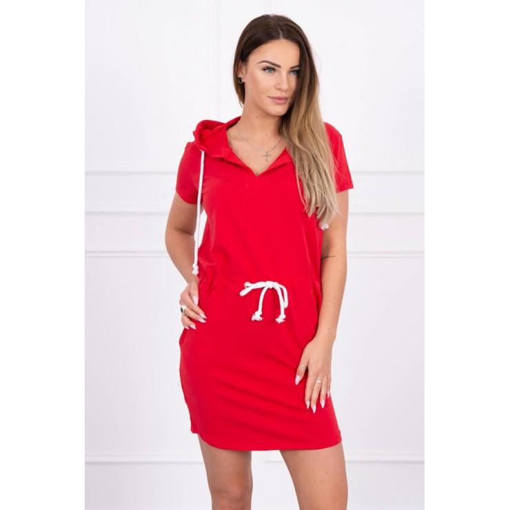 Šaty s vreckami a kapucňou MI8982 červené