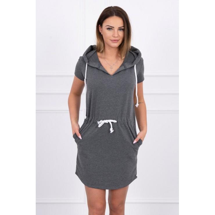 Šaty s kapsami a kapucí MI8982 grafitové