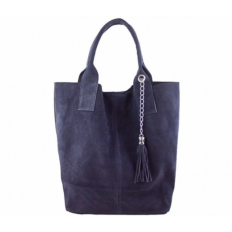 Genuine Leather Maxi Bag  804 blue