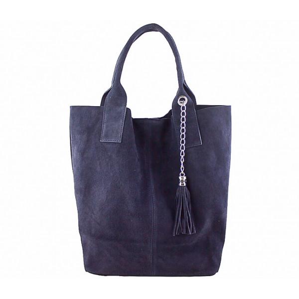 Modrá kožená kabelka v úprave semiš 804