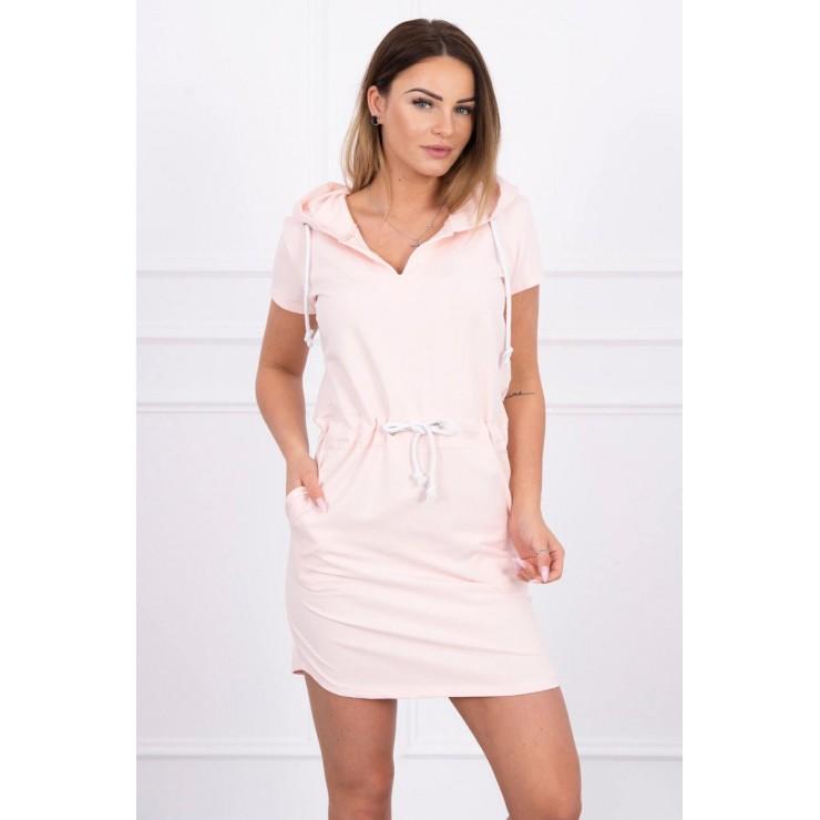 Dress with pockets and hood MI8982 powder pink