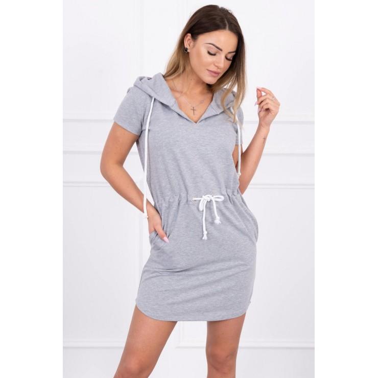 Šaty s vreckami a kapucňou MI8982 šedé