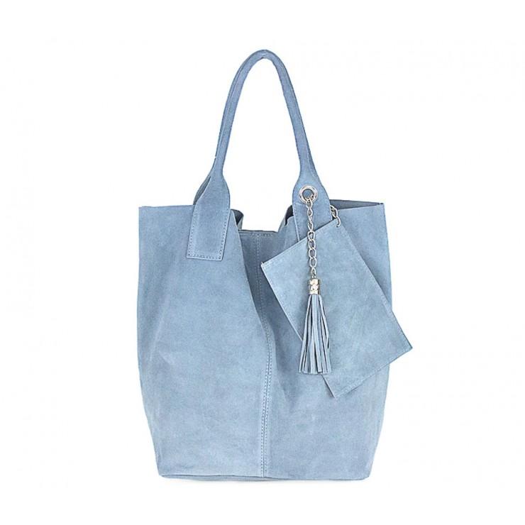 Nebesky modrá kožená kabelka v úprave semiš 804