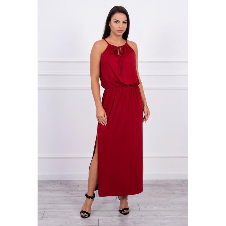 Dlouhé šaty s rozparkem MI8893 bordó