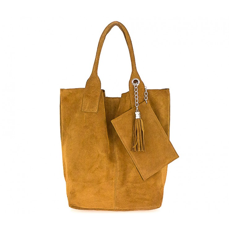 Genuine Leather Maxi Bag  804 cognac