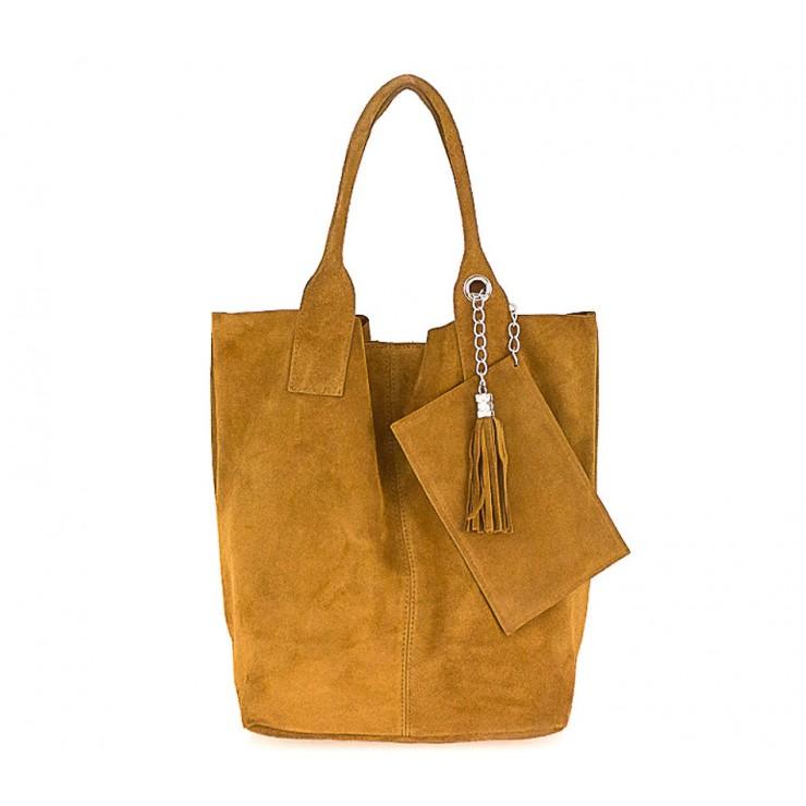 Koňaková kožená kabelka v úprave semiš 804