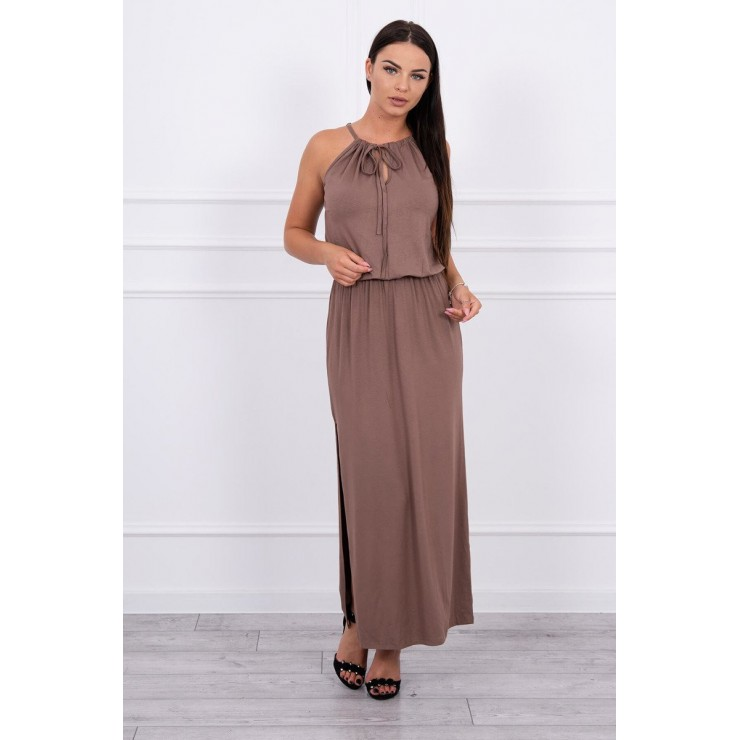 Long dress with slit MI8893 cappuccino